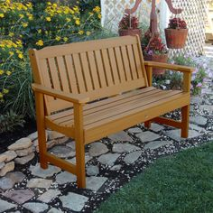 4ft CLASSIC Traditional Pub and Garden Style Bench Heavy Duty Rustic Brown Commercial Grade
