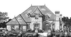 English Country Style House Plans - 3984 Square Foot Home , 2 Story, 4 Bedroom and 3 Bath, 3 Garage Stalls by Monster House Plans - Plan 8-832