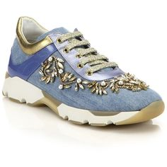 Rene Caovilla Embellished Denim & Metallic Leather Sneakers ($1,505) ❤ liked on Polyvore featuring shoes, sneakers, apparel & accessories, embellished shoes, rene caovilla shoes, jeweled shoes, rubber sole shoes and denim shoes
