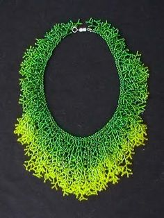 Necklace   Leah Henriquez Ready . Coralling stitch using seed beads, Ombre fringe