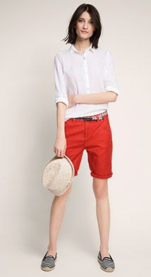 Cotton/linen shorts with belt