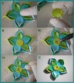 flower tutorial- clay or fondant Fondant Flower Tutorial, Fondant Flowers, Sugar Flowers, Cake Flowers, Polymer Clay Flowers, Fimo Clay, Polymer Clay Jewelry, Fondant Tips, Fondant Bow