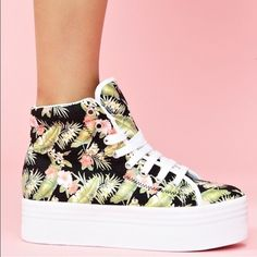 Jeffrey Campbell Hawaiian hightop sneakers Brand new! Sadly they are too small for me :( love love love! Super cute with all black or all white!! Jeffrey Campbell Shoes