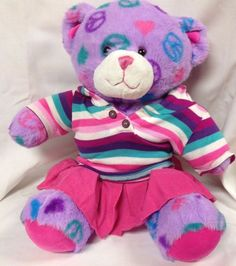 Purple and Pink Build a Bear Peace Theme BABW with Pink Striped Shirt and Skirt