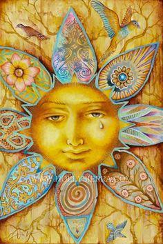 Reminds me of Summer Solstice - Tarot Artwork by Artist Holly Sierra Sun Moon Stars, Sun And Stars, Art Soleil, Arte Latina, Sun Art, Summer Solstice, Happy Solstice, Mellow Yellow, Yellow Sun