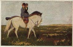 lady riding horse side saddle lovers German artist postcard