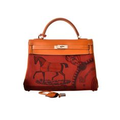 HERMES KELLY BAG 32cm COLLECTORS AMAZONE BARENIA / TOILE ROUGE H HORSE PRINT   From a collection of rare vintage top handle bags at https://www.1stdibs.com/fashion/handbags-purses-bags/top-handle-bags/