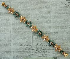 Linda's Crafty Inspirations: Bracelet of the Day: Crystal Flower - Teal & Pale Gold