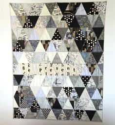 Modern Art Quilt Lap Quilt Triangle Quilt by CentralFabrications
