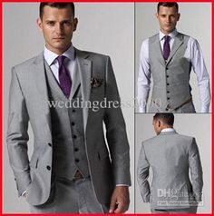 Wholesale Hot Selling Customed Silver Mens Suit Bridal Groom Suits/Tuxedo JacketPantsVestTie Handsome New, Free shipping, $98.1-115.0/Piece | DHgate