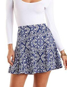 Damask Print Skater Skirt #charlotterusse #charlottelook