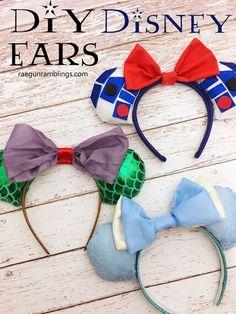 SO easy and cute for Disneyland vacations. DIY Disney Ears Tutorial R2D2 Star Wards Princesses.