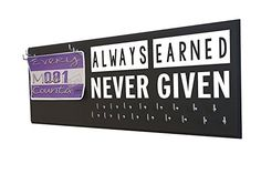 """Running on the Wall Medal Hanger Display and Race Bibs """"ALWAYS EARNED NEVER GIVEN"""" Medal Holder and Race Bib Combo Design - FREE2DAYSHIPPING"""