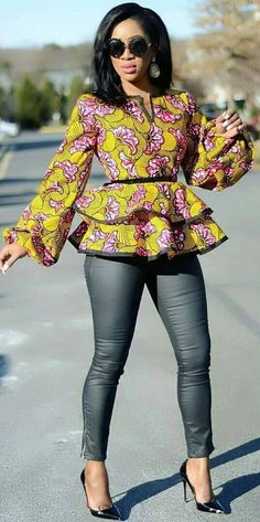 Here are Pictures of Latest Ankara Peplum Styles in 2018 - Skirt and Blouse Peplum Tops Designs. When it comes to fashion ovation looks of new Ankara style designs! we are as always extremely excited to have you covered with latest African ankara designs African Inspired Fashion, African Dresses For Women, African Print Dresses, African Print Fashion, Africa Fashion, African Attire, African Wear, African Fashion Dresses, African Women