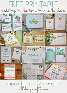 All Cheap Crafts: Over 30 free printable wedding invitations - Inspirational Weddings Free Printable Wedding Invitations, Cheap Wedding Invitations, Diy Invitations, Invitation Cards, Invitation Ideas, Invitation Templates, Save The Date Mariage, Save The Date Cards, Cheap Save The Dates