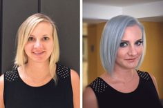 """Caroline Kim (@carolinekimhair), an artist at Salon Nesou in Santa Monica, CA, shares the details for this bright blonde to smokey blue transformation: STEP 1: Prelighten the hair from mid shaft to ends using Wella Color Charm powder lightener and activating lotion. STEP 2: Lighten the root area using Color Charm powder lightener and 20 volume developer. STEP 3: Tone with Wella Color Tango 10C + 1"""" of the IC (intense cool) additive and activating lotion."""