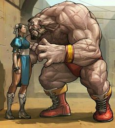 """cyberclays: """"Zangief vs Chun-Li - Street Fighter fan art by JeeHyung lee """" Street Fighter 2, Street Fighter Characters, Blanka Street Fighter, Comic Books Art, Comic Art, Samurai, Vw R32, Character Art, Character Design"""