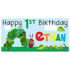 Amazon.com: The Very Hungry Caterpillar Birthday Banner Personalized Party Decoration Backdrop: Handmade