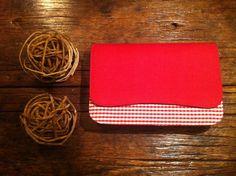 Clutch de linho xadrez vermelho e branco - à venda
