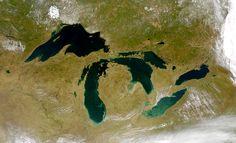 Região dos Grandes Lagos vista do espaço.  Fotografia: NASA.