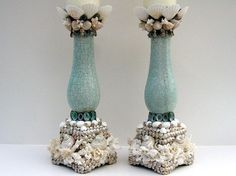 Beach Decor Elegant Coral and Shell van PinkPelicanDesigns op Etsy