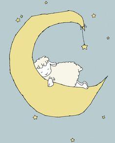 Lamm Kinderzimmer KunstLamm-Mond und Sterne von SweetMelodyDesigns