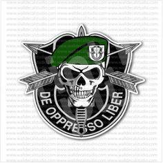 De Oppresso Liber Skull Army Green Berets Sticker