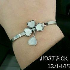 HP  GOOD LUCK BANGLE Stainless steel four leaf clover bangel. Never tarnish. Brand new. Jewelry Bracelets