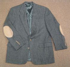 Vintage Charcoal Gray Tweed Blazer with Suede Elbow Patches Professor Smoking Jacket by Austin Reed London Size 40R #AustinReed #TwoButton #Blazer #Vintage #Tweed #Suede #ElbowPatches #SuedeElbowPatches #AustinReedLondon #SmokingJacket #ProfessorJacket #hipster #ForSale #Shopping #eBay #etsy #LoveIt #RatPack #OldSchoolCool #TBT #VLV #BuyItNow #FreeShipping #Retro #Dapper