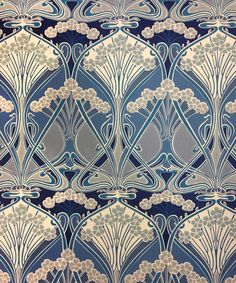 Ianthe Flower Wallpaper A timeless wallpaper design, originally created by well known French Art Nouveau designer, R. Beauclair in approximately 'Ianthe' is Greek for purple or violet flowers, suggesting that the flowers in the design may have origi Motifs Art Nouveau, Design Art Nouveau, Motif Art Deco, Art Nouveau Pattern, Art Design, Pattern Art, Pattern Design, Art Deco Fabric, Blue Design