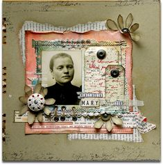 a softly distressed grayed-green background accents the tones in the faded photo. A curled and distressed peach framed adds a nice color accent. Interesting stitching and written tags give the layout vintage appeal. Heritage Scrapbook Pages, Scrapbook Journal, Scrapbook Sketches, Scrapbook Cards, Scrapbooking Layouts Vintage, Vintage Scrapbook, Scrapbook Page Layouts, Smash Book Pages, Shabby