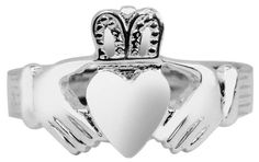 Little Treasures - Silver Claddagh Ring Mens Solid  Price Β£57,6