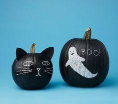 Abóboras pintadas de preto podem virar cabeças de gato