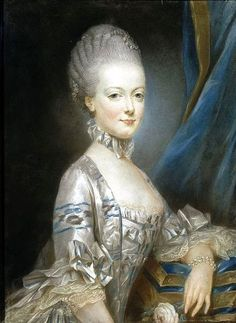 Marie Antoinette at the age of thirteen    Ornaments worn -    Single strand of pearls incorporated into the elaborate hairdo.    Double stranded pearl bracelet.    Portrait by - Joseph Ducreux in 1769. The miniature portrait was sent to the dauphin Louise-Auguste to enble him see his bride before the marriage.