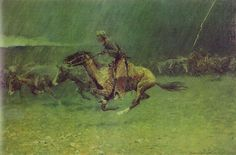 Frederic Remington c. 1908 'The Stampede'