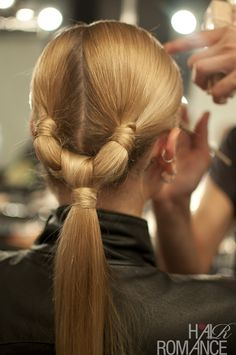 The double knot ponytail by Lee Preston for Aurelio Costarella - Hair Romance - - Long Ponytail Hairstyles, Knot Ponytail, Long Ponytails, Hair Knot, Cool Hairstyles, Ponytail Ideas, Ponytail Styles, Fashion Hairstyles, Beautiful Hairstyles