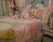 duvet and shams chenille bedspread  shabby chic full queen vintage cottage pom pom trim