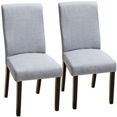 A set of 2 modern armless dining chairs feature lovely grey linen upholstery. Armless dining chair set of Grey linen upholstery. Style # at Lamps Plus.