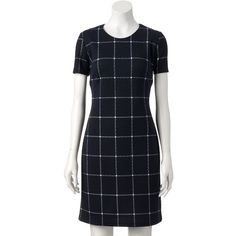 Women's Sharagano Quilted Plaid Shift Dress, Size: 10, Midnight Navy ($70) ❤ liked on Polyvore featuring dresses, midnight navy, sharagano dress, short-sleeve dresses, print shift dress, blue print dress and plaid shift dress