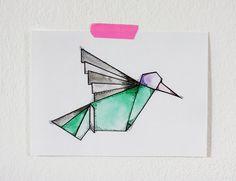 Hummingbird Origami 5x7 Print van fritzifranzen op Etsy, €7.00