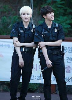 Suga & Jin WHO LET BTS GET IN POLICE UNIFORMS