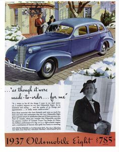 """OLDSMOBILE CAR AD Repro 1930's Advertisement Art for Framing 7.75"""" x 10"""""""