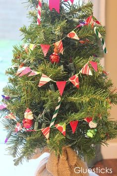 For mini Christmas trees, Christmas cards and presents. Duct tape bunting...who knew?