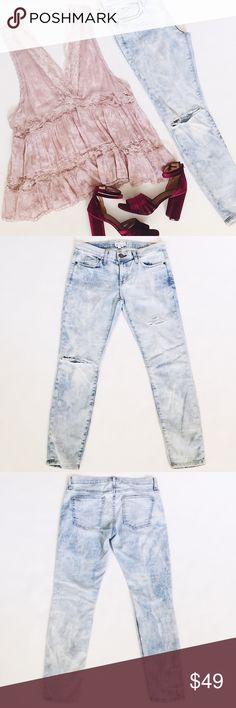 """Current/Elliott Stilletto Distressed Jeans Current/Elliott Stilletto Jeans in Crazy Wash, a light acid wash.  Custom destroyed! Plenty of stretch.  Pre-loved but in great condition.  No stains or damage.  Last 2 pics stock photos, used to show fit.    •  BUNDLE entire outfit to SAVE and GET THE LOOK!  •    Measurements laying flat: Waist (across): 15.25"""" Hips: 18.25"""" Inseam: 27"""" Rise: 8"""" Current/Elliott Jeans"""