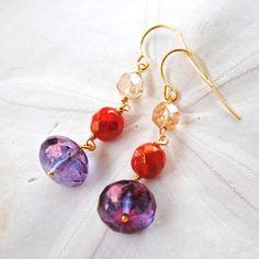 Clemson Dangle Earrings. Orange and Purple. on Etsy, $20.00