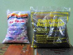 Piedritas multicolores y carbon activado para peceras