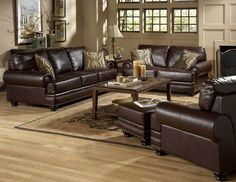 TRADITIONAL DARK BROWN LEATHER SOFA