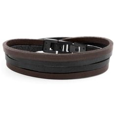 Buy Lucleon - Black & Black Roy Double-Wrap Leather Bracelet for only Shop at Trendhim and get returns. Cowhide Leather, Leather Men, Mode Mantel, Engraved Bracelet, Bracelet Cuir, Braided Leather, Bracelets For Men, Black And Brown, Diy Jewelry Making