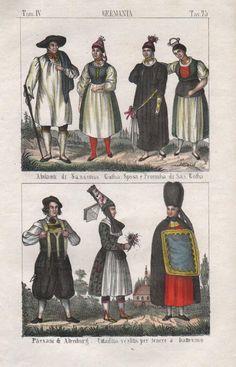 1840 Sachsen Gotha Altenburg Thüringen Tracht Trachten Lithographie | eBay