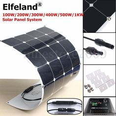 100W/200W/300W/400W/500W/1KW Semi Flexible Mono Solar Panel Battery System…
